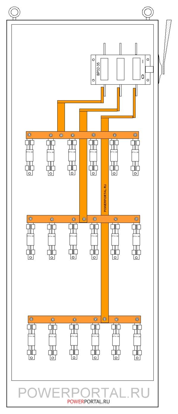 Монтажная схема силового шкафа
